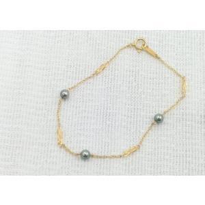 ツジモト真珠の ベビーパール あこや本真珠 ブレスレット パール K18  ステーション   ブラック spicapearl