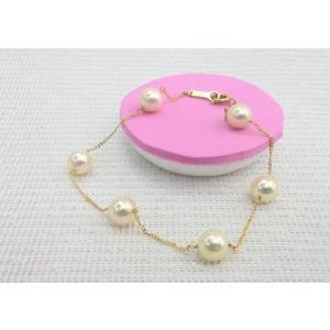 ツジモト真珠の パール ブレスレット あこや本真珠 ゴールド SVチェーン   スクリュー   6珠   spicapearl