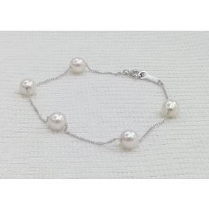 ツジモト真珠の パール ブレスレット あこや本真珠  SVチェーン   スクリュー   5珠   spicapearl