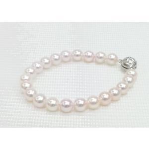 ツジモト真珠の あこや本真珠 22珠 ブレスレット パール シルバー  糸仕上げ あこや spicapearl
