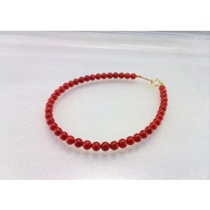 ツジモト真珠の本珊瑚 ブレスレット 17cm 赤珊瑚 胡渡 K18  4ミリ spicapearl