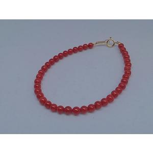 ツジモト真珠の本珊瑚 ブレスレット 16cm 赤珊瑚 胡渡 K18  4ミリ spicapearl