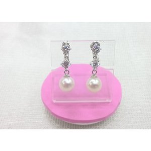 ツジモト真珠のイヤリング あこや本真珠 ダブルジルコン ぶらタイプ SV|spicapearl