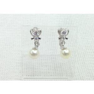 ツジモト真珠のイヤリング あこや本真珠 リボン ぶらタイプ SV|spicapearl