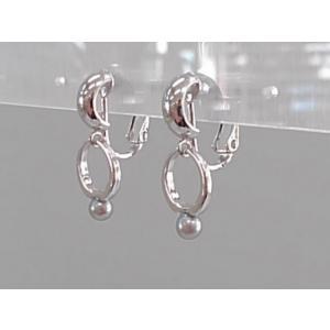 ツジモト真珠のイヤリング あこや本真珠  スィングリング ベビーパール 銀色メッキ 黒真珠 |spicapearl