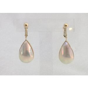 ツジモト真珠のマベパール イヤリング しずく形 K18  スイングタイプ|spicapearl