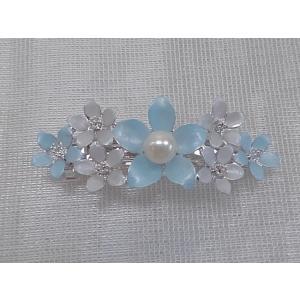 ツジモト真珠の ヘアーアクセサリー あこや本真珠 バレッタ フラワー 髪飾り 1珠 水色|spicapearl