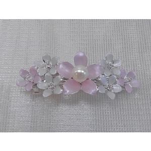 ツジモト真珠の ヘアーアクセサリー あこや本真珠 バレッタ フラワー 髪飾り 1珠 桃色|spicapearl