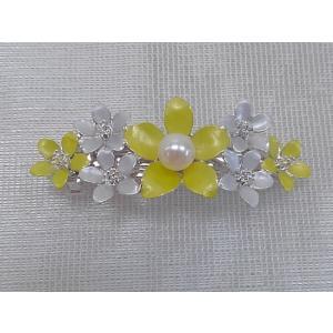 ツジモト真珠の ヘアーアクセサリー あこや本真珠 バレッタ フラワー 髪飾り 1珠 黄色|spicapearl