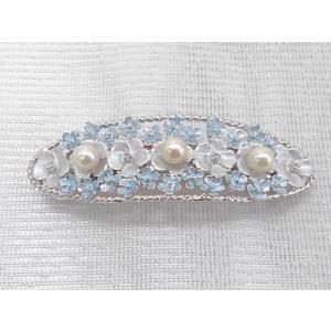 ツジモト真珠の ヘアーアクセサリー あこや本真珠 バレッタ フラワー 髪飾り なまこ 3珠 水色|spicapearl