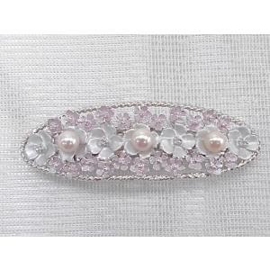 ツジモト真珠の ヘアーアクセサリー あこや本真珠 バレッタ フラワー 髪飾り なまこ 3珠 桃色|spicapearl
