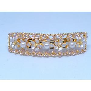 ツジモト真珠の ヘアーアクセサリー あこや本真珠 バレッタ フラワー 髪飾り レクタングル 3珠 桃色|spicapearl