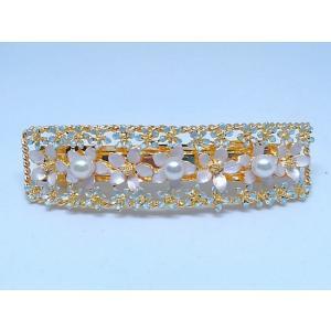 ツジモト真珠の ヘアーアクセサリー あこや本真珠 バレッタ フラワー 髪飾り レクタングル 3珠 水色|spicapearl