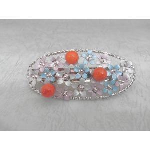 ツジモト真珠の ヘアーアクセサリー アフリカ珊瑚 バレッタ フラワー 赤珊瑚 髪飾り 大判 3珠 桃色|spicapearl