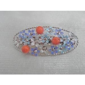 ツジモト真珠の ヘアーアクセサリー アフリカ珊瑚 バレッタ フラワー 赤珊瑚 髪飾り 大判 3珠 青色|spicapearl