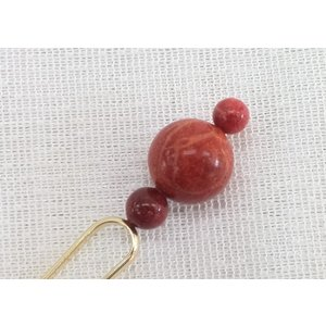 ツジモト真珠の本珊瑚 かんざし 17mm アフリカ珊瑚 髪飾り 赤珊瑚 二又 3珠珊瑚 spicapearl