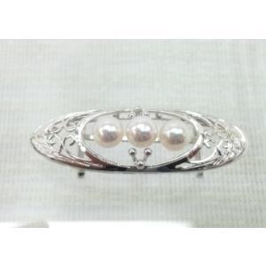 ツジモト真珠の帯留め あこや本真珠 帯飾り 本真珠 シルバー 3珠 spicapearl
