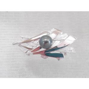 ツジモト真珠の帯留め タヒチの黒真珠 帯飾り 銀製品 10mm本真珠 和装アクセサリー 黒真珠 spicapearl