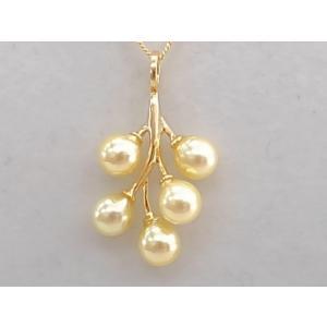 あこや本真珠 トップ パール ゴールドカラー 5珠 オリジナル 22金メッキSV|spicapearl