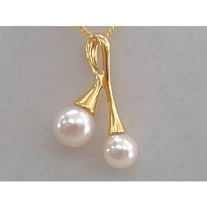 ツジモト真珠の ペンダント K22メッキ あこや本真珠 2珠トップ パール  ブランチ シルバー   |spicapearl