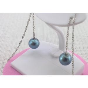 ツジモト真珠の 黒真珠 アメリカンピアス スクリューチェーン あこや本真珠 |spicapearl