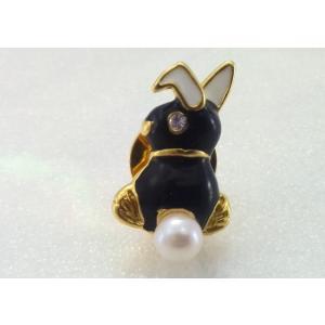 ツジモト真珠のピンブローチ プレーボーイ風 あこや本真珠 タックブローチ うさぎ ブラック|spicapearl
