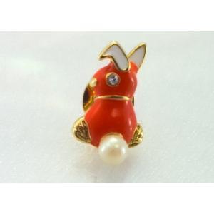 ツジモト真珠のピンブローチ プレーボーイ風 あこや本真珠 タックブローチ うさぎ オレンジ|spicapearl