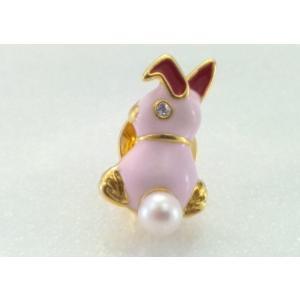 ツジモト真珠のピンブローチ プレーボーイ風 あこや本真珠 タックブローチ うさぎ ピンク|spicapearl