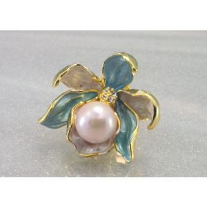 ツジモト真珠のピンブローチ カトレア あこや本真珠 タックブローチ 花 水色フラワー|spicapearl