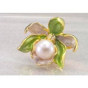 ツジモト真珠のピンブローチ カトレア あこや本真珠 タックブローチ 花 グリーフラワー|spicapearl
