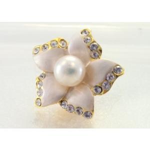 ツジモト真珠のピンブローチ 花 あこや本真珠 タックブローチ  ホワイトフラワー|spicapearl