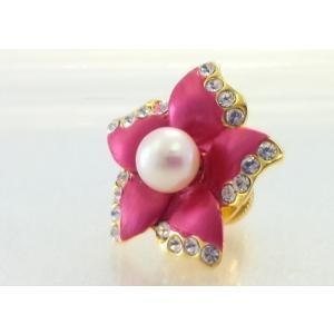 ツジモト真珠のピンブローチ 花 あこや本真珠 タックブローチ レッドフラワー|spicapearl