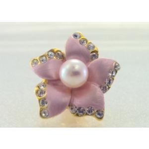 ツジモト真珠のピンブローチ 花 あこや本真珠 タックブローチ  ピンクフラワー|spicapearl