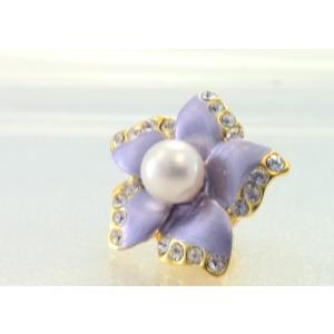 ツジモト真珠のピンブローチ 花 あこや本真珠 タックブローチ  パープルフラワー|spicapearl