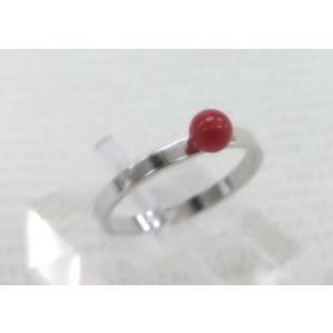 ツジモト真珠の本珊瑚 リング 赤珊瑚 4.0mm 胡渡り シルバー  9.5号指輪  spicapearl
