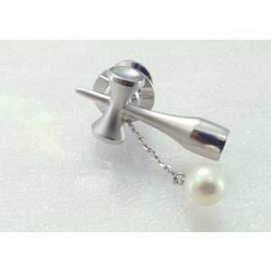 ツジモト真珠のタックブローチ あこや本真珠  SV  けん玉 シルバーピンブローチ ホワイト系|spicapearl