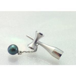 ツジモト真珠のタックブローチ あこや本真珠  SV  けん玉 シルバーピンブローチ ブラックパール|spicapearl