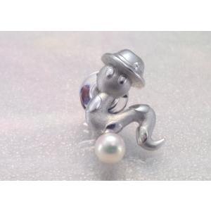 ツジモト真珠のタックブローチ スネーク あこや本真珠  SV  へびのちょろちゃん シルバーピンブローチ ピンクパール|spicapearl
