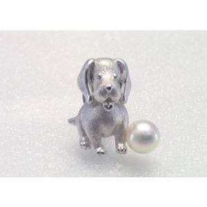 ツジモト真珠のタックブローチ 犬 あこや本真珠  SV  ビーグル シルバーピンブローチ |spicapearl