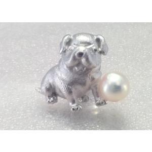 ツジモト真珠のタックブローチ 犬 あこや本真珠  SV  パグ シルバーピンブローチ |spicapearl