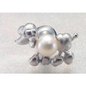 ツジモト真珠のタックブローチ 犬 あこや本真珠  SV  プードル シルバーピンブローチ |spicapearl