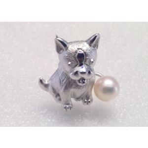 ツジモト真珠のタックブローチ 犬 あこや本真珠  SV  ボストンテリア シルバーピンブローチ |spicapearl