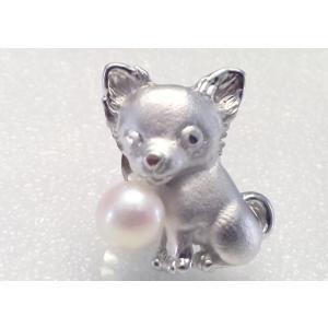ツジモト真珠のタックブローチ 犬 あこや本真珠  SV  チワワ シルバーピンブローチ |spicapearl