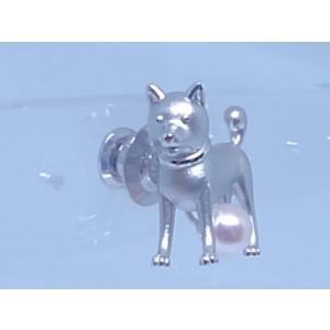 ツジモト真珠のタックブローチ あこや本真珠  SV 秋田犬 マサル シルバーピンブローチ いぬ ザキトワ |spicapearl