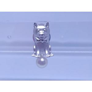 ツジモト真珠のタックブローチ あこや本真珠  SV 柴犬 シルバーピンブローチ 豆柴 いぬ|spicapearl