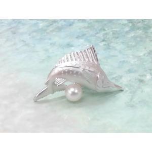 ツジモト真珠のタックブローチ カジキ あこや本真珠  SV ビルフィッシュ シルバーピンブローチ |spicapearl