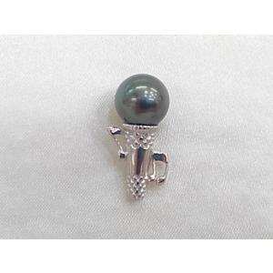 ツジモト真珠のタックブローチ 南洋真珠  SV  マイク シルバーピンブローチ ナチュラルブラック タヒチの黒蝶真珠 9.5mm|spicapearl