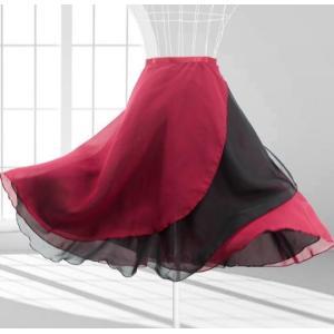バレエ用品 大人 巻きスカート シフォン スカート リボン  ミディアム丈 レッスン 練習用 ダンス シンプル バレエレオタード用 両面とも着用可|spillhope0601