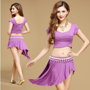 新作大人気 ベリーダンス セットアップ 社交ダンス 練習着 アラビア衣装 フィットネスウェア 舞台服 レッスンウェア トップス スカート 3点セット 5カラー|spillhope0601