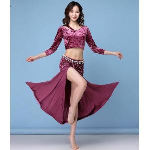 新品  ベリーダンス衣装  レディース  社交ダンス  セクシー  トップス+スカート  コスチューム  フィットネスウェア  練習着  ステージ  演出服 spillhope0601